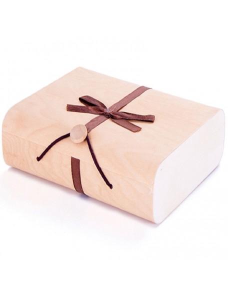 Estuche madera de chapa rectangular 15x11x3,7cm.