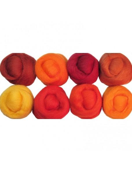 "Wistyria - Fire Wool Roving 12"" 0.25 oz"