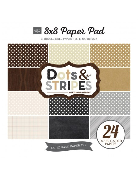 "Echo Park Neutrals Dots & Stripes Paper Pad 8""X8"" Papel de doble cara 24"