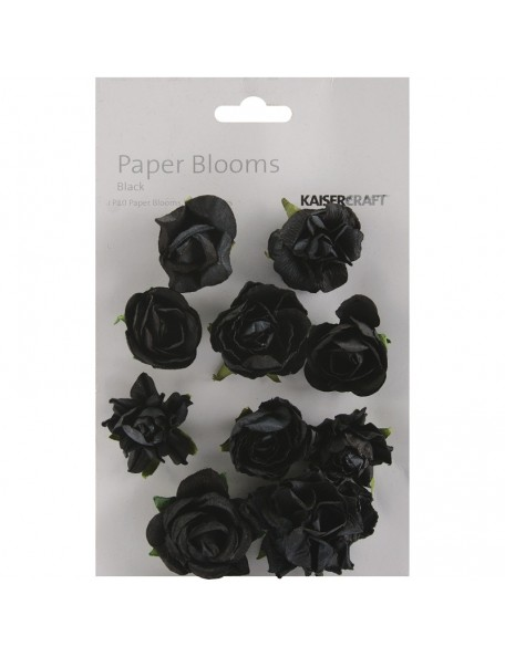 "Kaisercraft Paper Blooms 1"" - 1.5"" 10 Black"