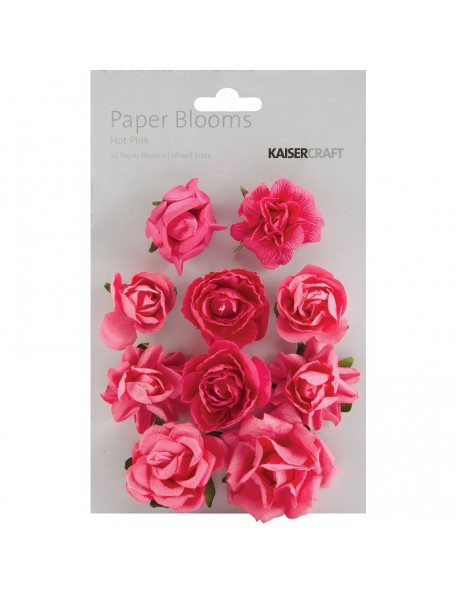 """Kaisercraft Paper Blooms 1"""" - 1.5"""" 10 Hot Pink"""