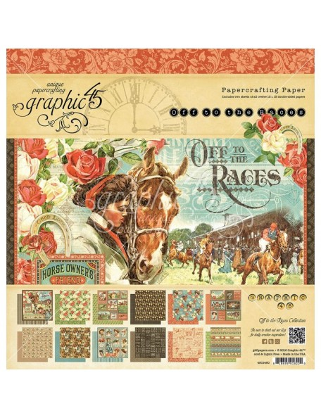 """Graphic 45 Off to the Races Paper Pad Cardstock de doble cara 12""""x12"""""""