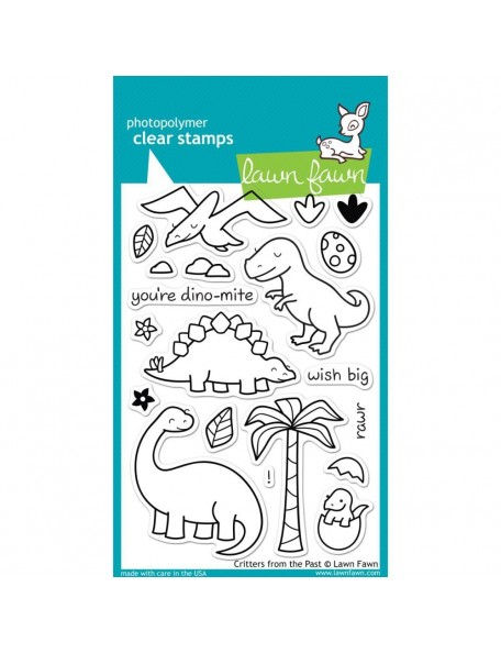"""Lawn Fawn Clear Stamps 4""""X6"""" Critters From The Past"""