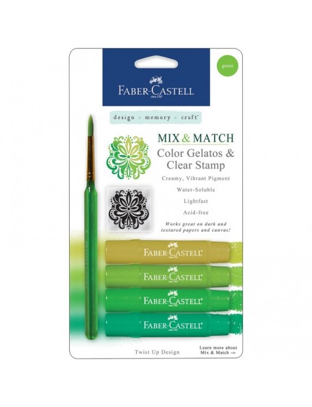 Faber-Castell Mix & Match Gelatos & Stamp Kit Green - DESCATALOGADO