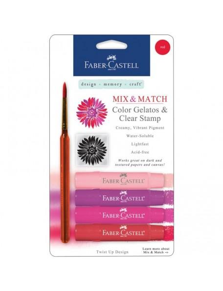 Faber-Castell Mix & Match Gelatos & Stamp Kit Red