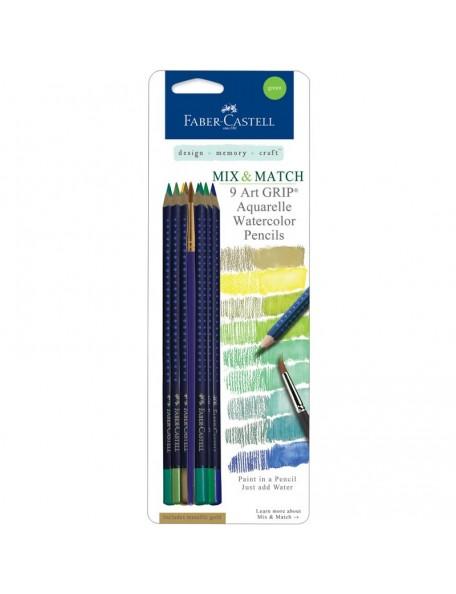 Faber-Castell Mix & Match Art GRIP Aquarelle Watercolor Pencils 9/Pkg Green