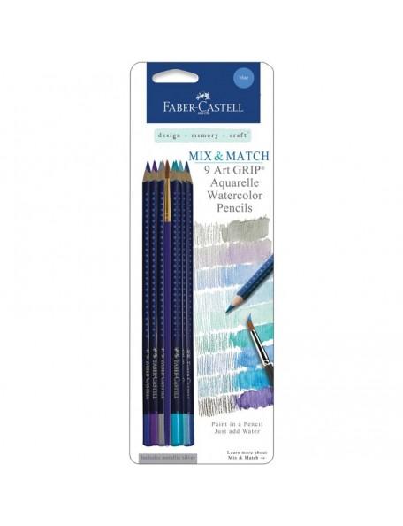 Faber-Castell Mix & Match Art GRIP Aquarelle Watercolor Pencils 9/Pkg Blue