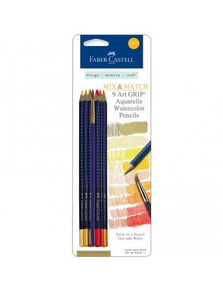 Faber-Castell Mix & Match Art GRIP Aquarelle Watercolor Pencils 9/Pkg Yellow