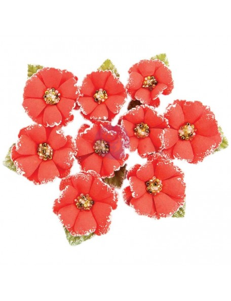Prima Marketing Fabric Flowers W/Beads & Flocking 9/Pkg Papaya