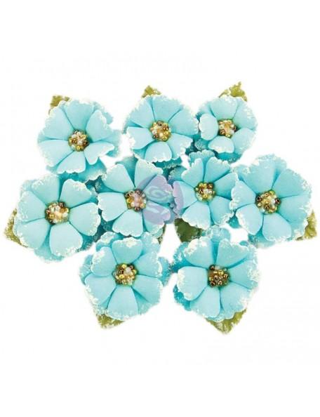 Prima Marketing Fabric Flowers W/Beads & Flocking 9/Pkg Boreal