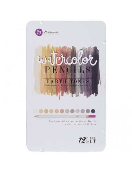 Prima Marketing Mixed Media Watercolor Pencils 12 Julie Nutting Earth Tones