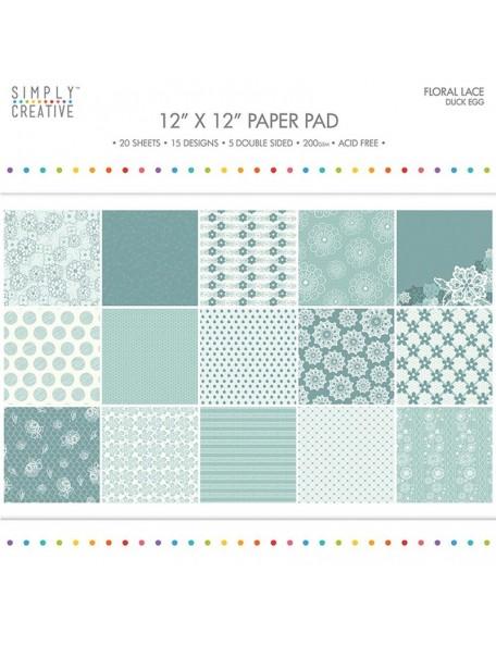 "Simply Creative Paper Pad Floral Lace 12""X12"" 20, Duck Egg, 15 Designs/5 Hojas de doble cara"