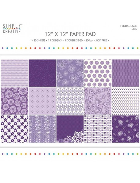 "Simply Creative Paper Pad Floral Lace 12""X12"" 20, Lilac, 15 Designs/5 Hojas de doble cara"
