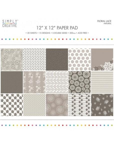 "Simply Creative Paper Pad Floral Lace 12""X12"" 20, Natural, 15 Designs/5 Hojas de doble cara"