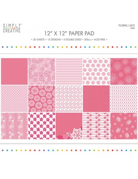 "Simply Creative Paper Pad Floral Lace 12""X12"" 20, Pinkl, 15 Designs/5 Hojas de doble cara"