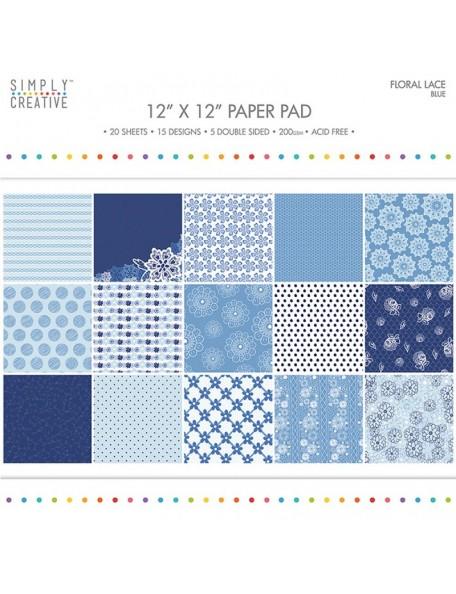 "Simply Creative Paper Pad Floral Lace 12""X12"" 20, Blue, 15 Designs/5 Hojas de doble cara"