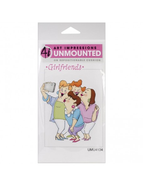 "Art Impressions Girlfriends Cling Rubber Stamp3.25""X2.75"", Picture Perfect"