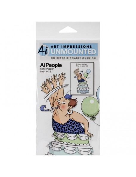 "Art Impressions People Cling Rubber Stamps 7""X4"", Cake Popper Set"