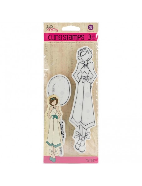 """Prima Marketing Julie Nutting Mixed Media Cling Rubber Stamps, Gina 3.5""""X8"""""""