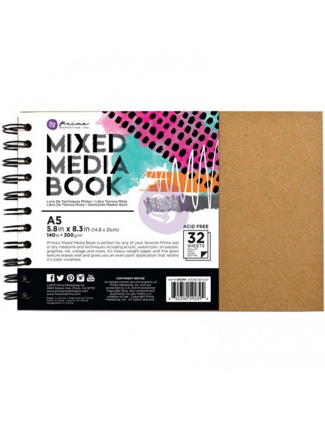 Prima Marketing Mixed Media Spiral Bound A5 Kraft Book