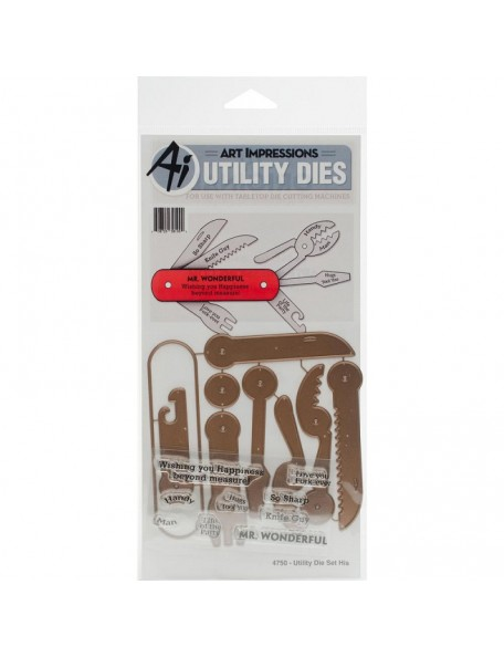 Art Impressions Die And Clear Stamp Set-Utility Set, His