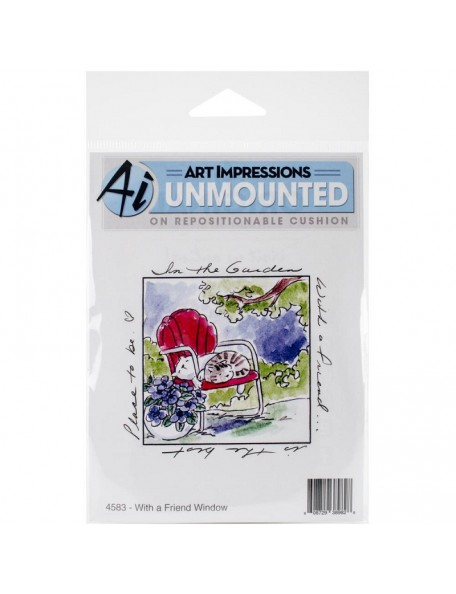 "Art Impressions Windows To The World Cling Stamp 4""X5.25"", W/A Friend Window"