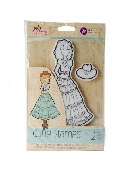 Prima Marketing Julie Nutting Mixed Media Cling Rubber Stamps, Annie