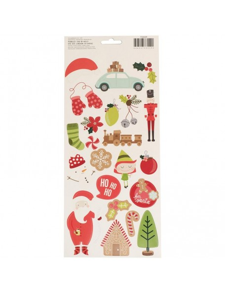 "Pebbles Merry Merry Cardstock Stickers 5.5""X11"" 2, Icons & Accents"