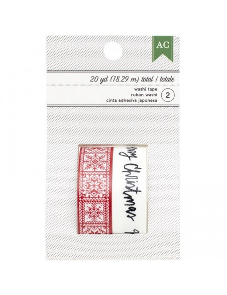 American Crafts Holiday Washi Tape 2 Merry Christmas Script/Red Snowflakes