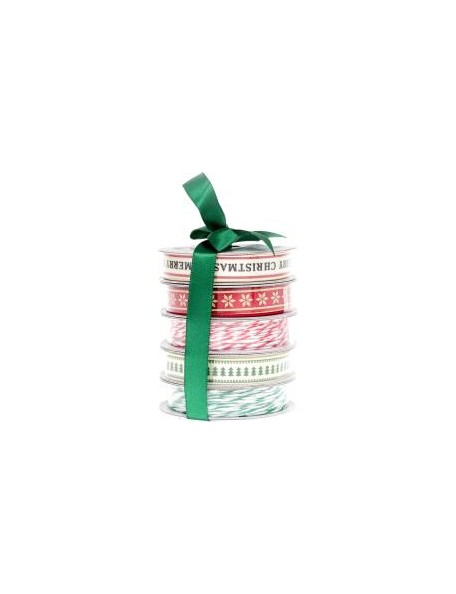 American Crafts Ribbon 3yd Each 5, Merry Christmas