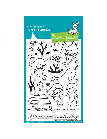 "Lawn Fawn Clear Stamps 4""X6"", Mermaid For You"