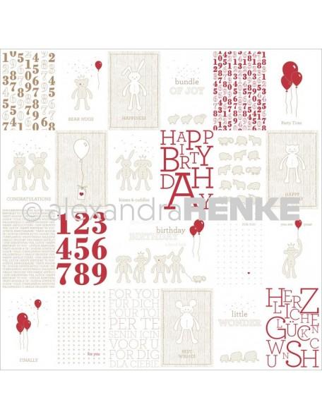 Alexandra Renke Baby Rocker Cardstock una cara 30,5x30,5 cm, Peluches y Globos/Stuffed Animals W/Balloons Cards