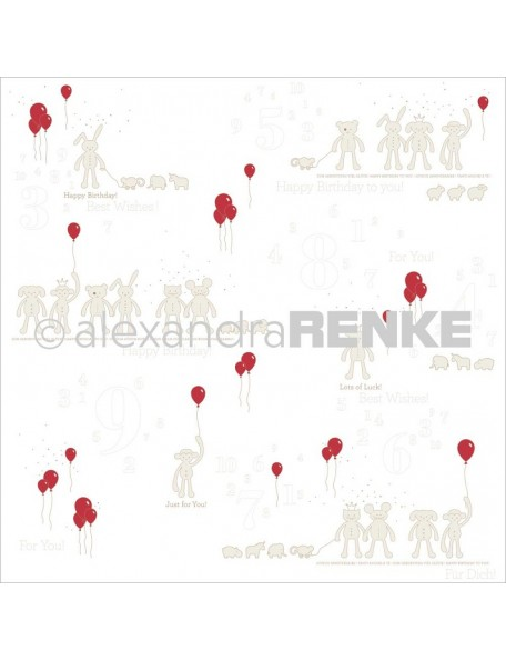 Alexandra Renke Baby Rocker Cardstock de una cara 30,5x30,5 cm, Stuffed Animals W/Balloons