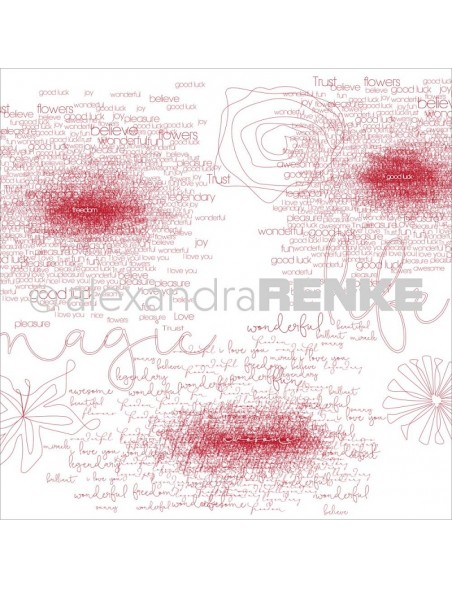 Alexandra Renke Magic Flowers Design Paper 30,5x30,5 cm, Bordeaux Type & Flowers
