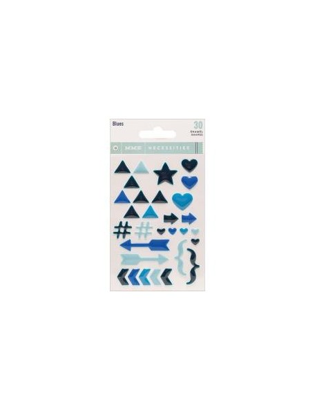 My Mind'S Eye Necessities Adhesive Enamel Shapes 30 Blues