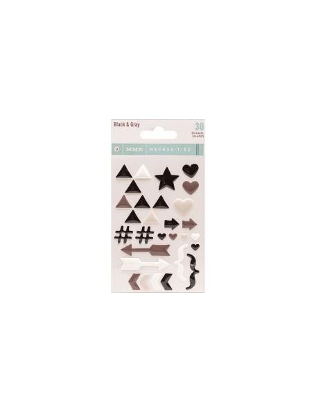 My Mind'S Eye Necessities Adhesive Enamel Shapes 30 Black & Gray