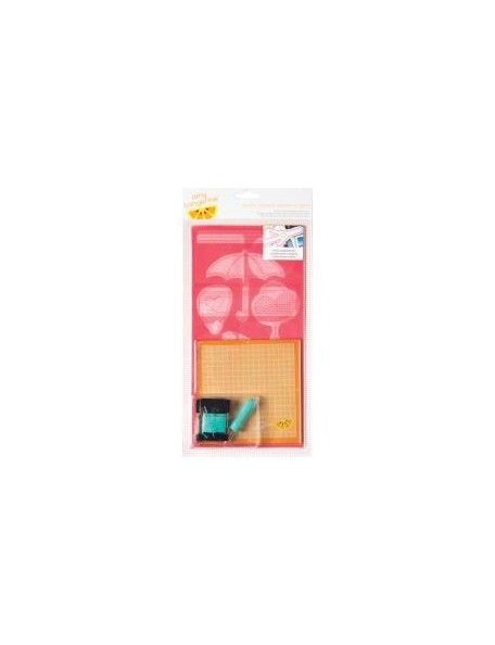 American Crafts Amy Tangerine Embroidery Stencil Kit-Plus 1, Teammate Icon