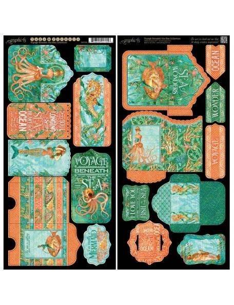 """Graphic 45 Voyage Beneath The Sea Cardstock Troquelados 6""""X12"""" 2 Hojas, Tags & Pockets"""