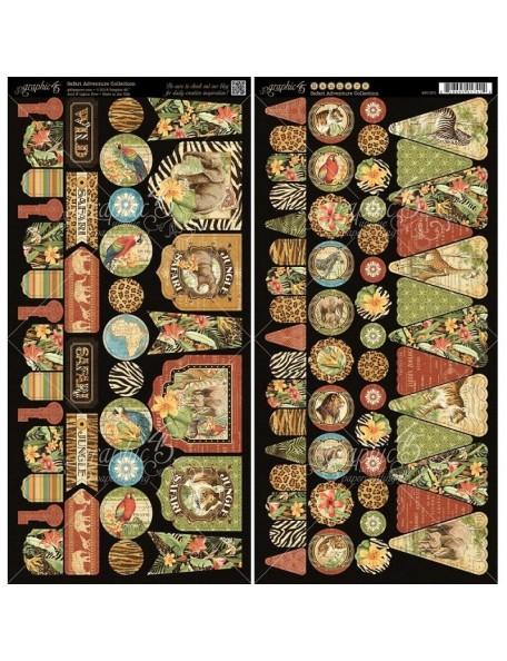 Graphic 45 Adornos troquelados de la colección Safari Adventure