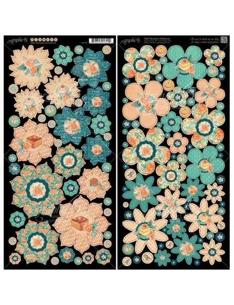 """Graphic 45 Cafe Parisian Cardstock Die-Cuts 6""""X12"""" Sheets2, Flowers"""
