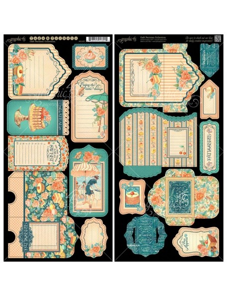 """Graphic 45 Cafe Parisian Cardstock Die-Cuts 6""""X12"""" 2 Hojas, Tags & Pockets"""