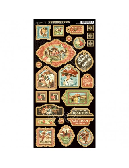 """Graphic 45 Off To The Races Chipboard Die-Cuts 6""""X12"""" Sheet -Decorative"""