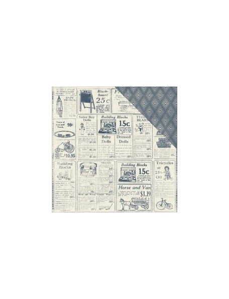 "Authentique Paper Darling Boy Cardstock de doble cara 12""X12"", Antq White & Navy Newspaper/Navy Diamond"