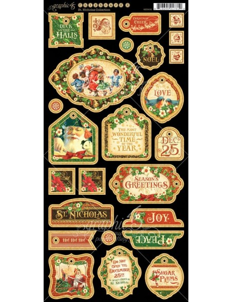 "Graphic 45 St Nicholas Chipboard Troquelados 6""X12"" Hojas Decorativas"