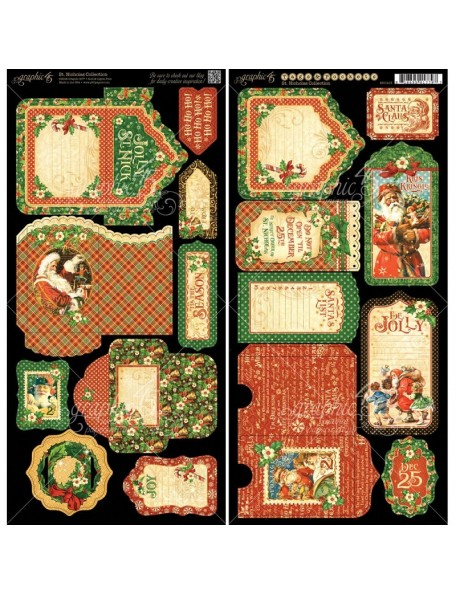 """Graphic 45 St Nicholas Cardstock Die-Cuts 6""""X12"""" Sheets 2, Tags & Pockets"""