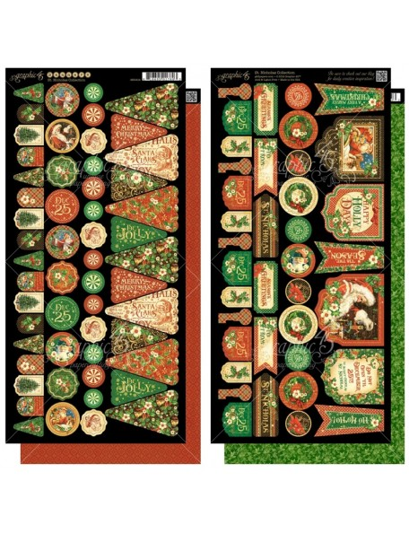 "Graphic 45 St Nicholas Cardstock Troquelados 6""X12"" 2 Hojas, Banners"