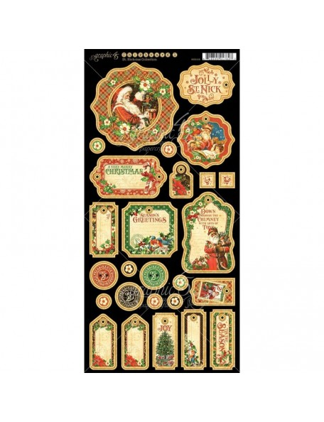 "Graphic 45 St. Nicholas Chipboard Die-Cuts 6""X12"" Sheet-Journaling"