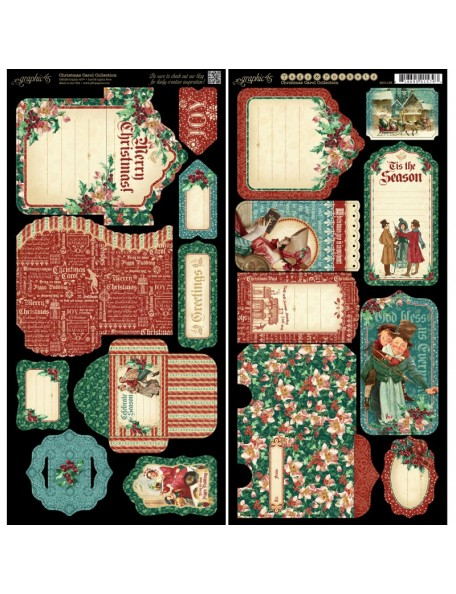 "Graphic 45 A Christmas Carol Cardstock Die-Cuts 6""X12"" Sheets 2, Tags & Pockets"