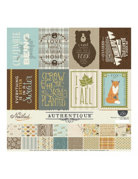 "Authentique - Nestled - Cardstock de doble cara 12""x12"""