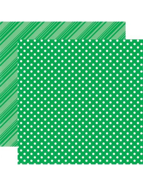 "Echo Park - Summer Dots & Stripes de doble cara Cardstock 12""X12"", Grass"